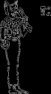 Zeichnung Göttin Bastet mit Katzenkopf