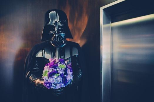Darth Vader mit Blumenstrauß