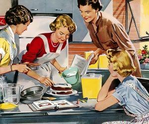 Hausfrauen beim Kuchenbacken Retro 50er Jahre