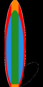 Surfboard green blue red orange